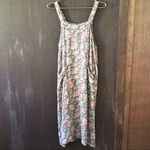 Vintage April Cornell floral overall pocket dress